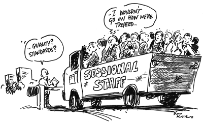 cartoon showing poor treatment of sessional staff